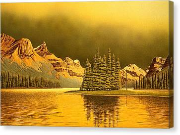 Maligne Lake Canvas Print by Conrad Mieschke