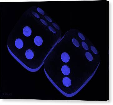 Mama's Fuzzy Dice In Blue Canvas Print by Rob Hans