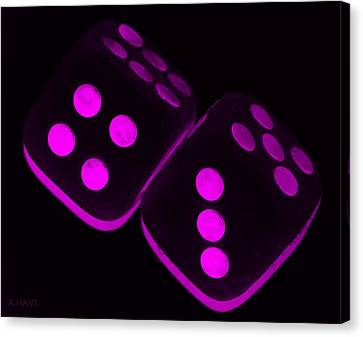 Mama's Fuzzy Dice In Purple Canvas Print by Rob Hans