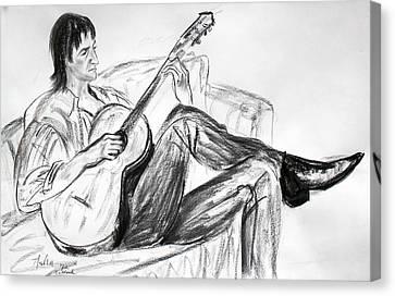 Man And Guitar Canvas Print by Asha Carolyn Young
