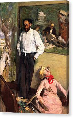 Man And Puppet Canvas Print by Edgar Degas