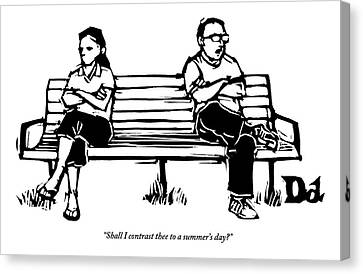 Man And Woman Sit On Bench Opposite One Another Canvas Print by Drew Dernavich