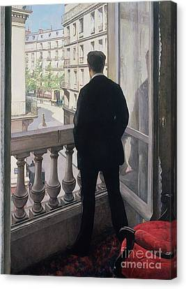 Man At The Window Canvas Print by Gustave Caillebotte