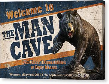 Man Cave Balck Bear Canvas Print by JQ Licensing