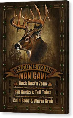 Man Cave Deer Canvas Print by JQ Licensing