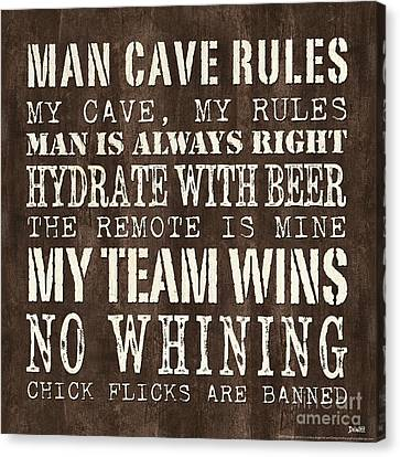 Man Cave Rules 1 Canvas Print by Debbie DeWitt