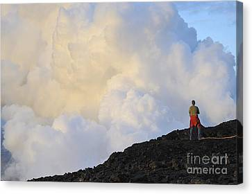 Man Contemplating Clouds Of Steam On Volcano Canvas Print by Sami Sarkis