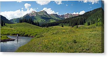 Man Fly-fishing In Slate River, Crested Canvas Print by Panoramic Images