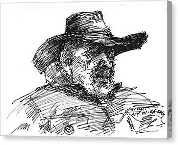 Man In A Cowboy Hat Canvas Print by Ylli Haruni