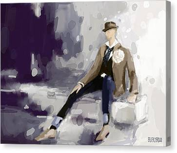 Man In A Fedora Fashion Illustration Art Print Canvas Print by Beverly Brown Prints