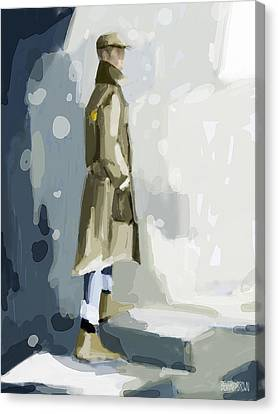 Man In A Trench Coat Fashion Illustration Art Print Canvas Print by Beverly Brown Prints