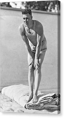 Man In Early Bathing Suit Canvas Print by Underwood Archives