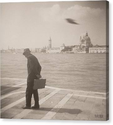 Man In Fedora With Bird Canvas Print by Beverly Brown Prints
