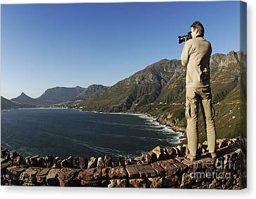 Man Photographing Hout Bay Canvas Print by Sami Sarkis