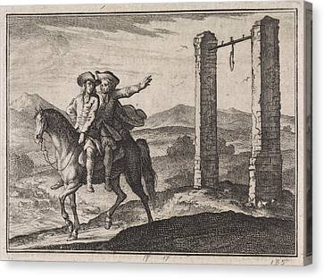 Man Saved By His Guardian Angel Of The Gallows Canvas Print by Caspar Luyken And Christoph Weigel