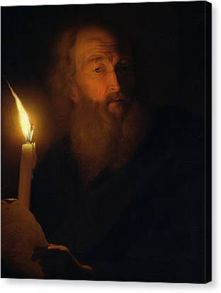 Man With A Candle Canvas Print by Godfried Schalken