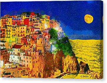 Manarola By Night Canvas Print by George Rossidis