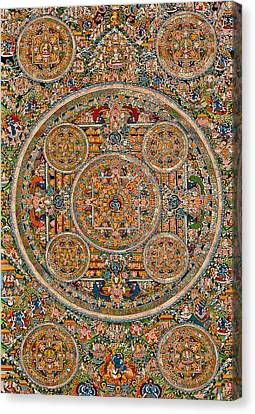 Mandala Of Heruka In Yab Yum And Buddhas Canvas Print by Lanjee Chee