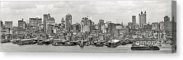 Manhattan Panorama Circa 1908 Canvas Print by Jon Neidert