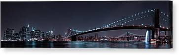 Manhattan Skyline And Brooklyn Bridge Canvas Print by Fabien Bravin