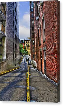 Manhattan Theater District Alley Canvas Print by Randy Aveille