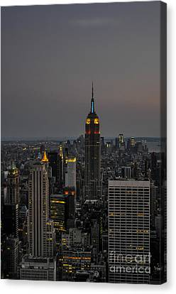 Manhattan Twilight Canvas Print by Chris Holmes