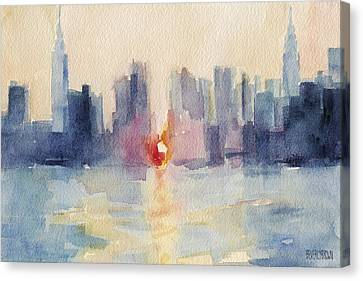 Manhattanhenge New York Skyline Painting Canvas Print by Beverly Brown