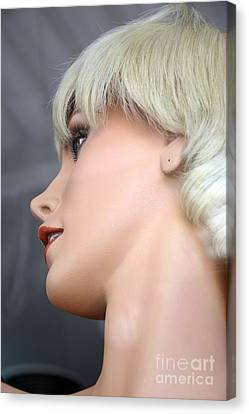 Mannequin Art - Blonde Female Mannequin Face  Canvas Print by Kathy Fornal