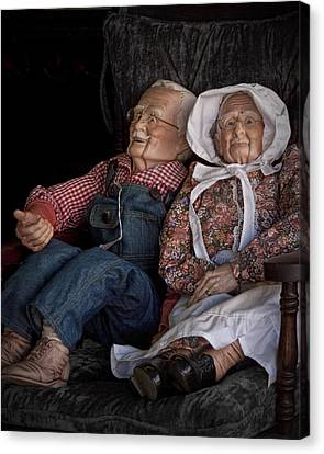 Mannequin Old Couple In Shop Window Display Color Photo Canvas Print by Randall Nyhof
