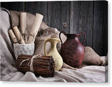 Manuscripts Still Life Canvas Print by Tom Mc Nemar