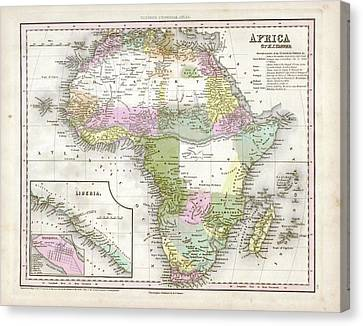 Map Of Africa Canvas Print by Library Of Congress, Geography And Map Division