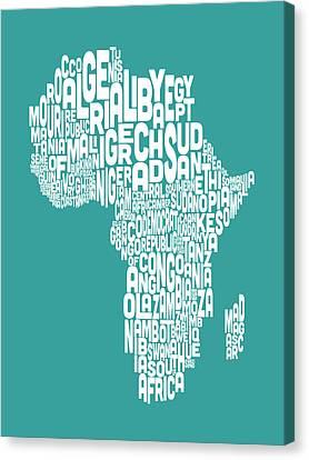 Map Of Africa Map Text Art Canvas Print by Michael Tompsett