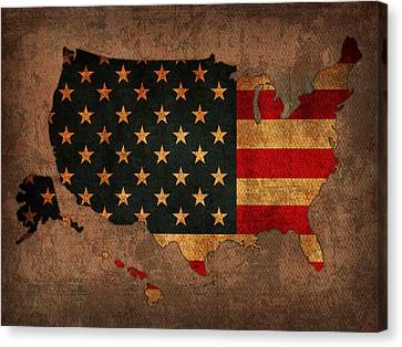 Map Of America United States Usa With Flag Art On Distressed Worn Canvas Canvas Print by Design Turnpike