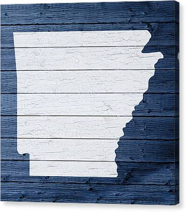 Map Of Arkansas State Outline White Distressed Paint On Reclaimed Wood Planks Canvas Print by Design Turnpike