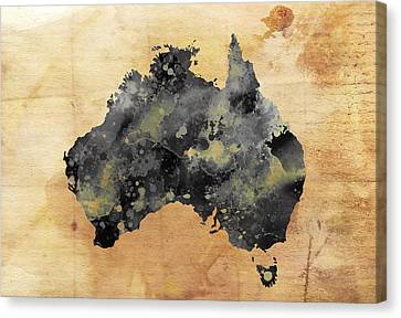 Map Of Australia Grunge Canvas Print by Daniel Hagerman