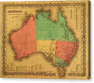 Map Of Australia Vintage 1855 On Worn Canvas Canvas Print by Design Turnpike