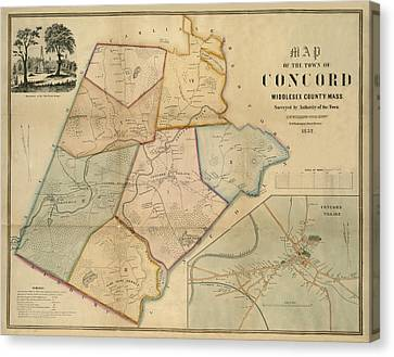 Map Of Concord 1852 Canvas Print by Andrew Fare