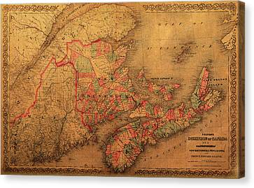 Map Of Eastern Canada Provinces Vintage Atlas On Worn Canvas Canvas Print by Design Turnpike