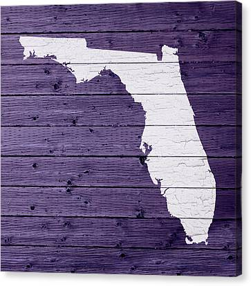 Map Of Florida State Outline White Distressed Paint On Reclaimed Wood Planks Canvas Print by Design Turnpike