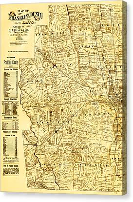 Map Of Franklin Country Ohio 1883 Canvas Print by Mountain Dreams