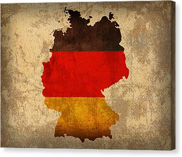 Map Of Germany With Flag Art On Distressed Worn Canvas Canvas Print by Design Turnpike