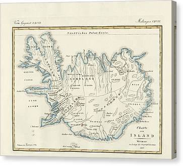 Map Of Iceland Canvas Print by Splendid Art Prints