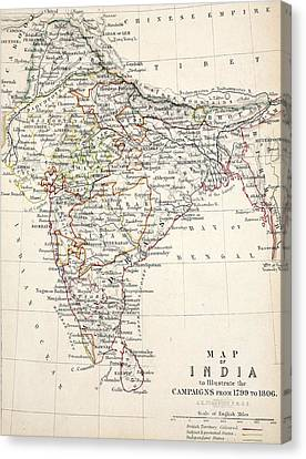 Map Of India Canvas Print by Alexander Keith Johnson