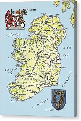 Map Of Ireland Canvas Print by English School