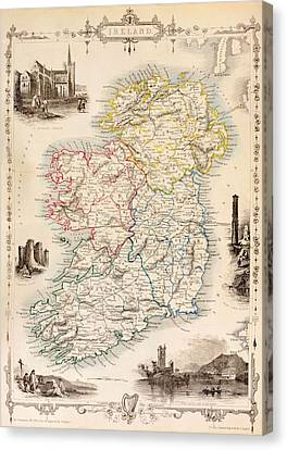 Map Of Ireland From The History Of Ireland By Thomas Wright Canvas Print by English School