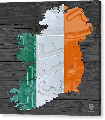 Map Of Ireland Plus Irish Flag License Plate Art On Gray Wood Board Canvas Print by Design Turnpike