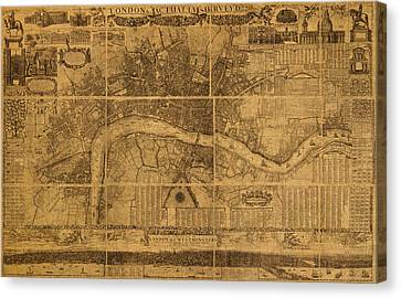 Map Of London England Old Parchment Circa 1905 Canvas Print by Design Turnpike