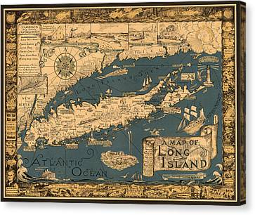 Map Of Long Island Canvas Print by Andrew Fare