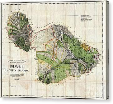 Map Of Maui 1885 Canvas Print by Jon Neidert