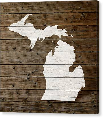 Map Of Michigan State Outline White Distressed Paint On Reclaimed Wood Planks Canvas Print by Design Turnpike